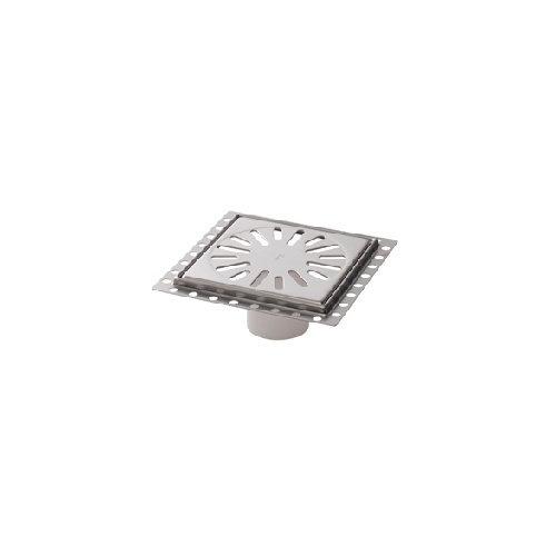 Renovatievloerput Aquaberg Incl. 2 Reukafsluiters Met 1 Aansluiting 15x15x7.1 cm RVS