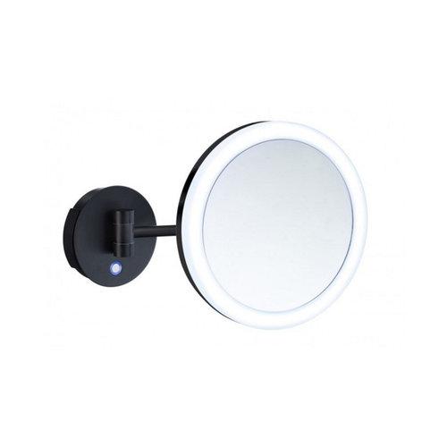 Smedbo Vergrootspiegel Draaibaar Met Dual-LED Diamater 20 cm Messing En Acrylglas Zwart