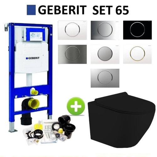 Geberit UP320 Mat Zwart Toiletset set65 Mudo Randloos met Sigma 10 Drukplaat