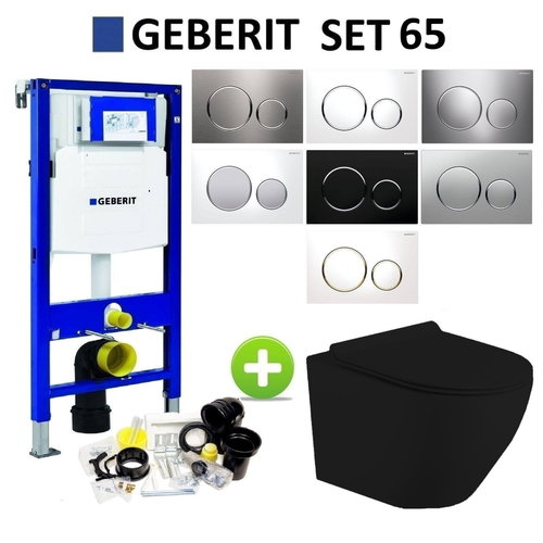 Geberit UP320 Mat Zwart Toiletset set65 Mudo Randloos met Sigma 20 Drukplaat
