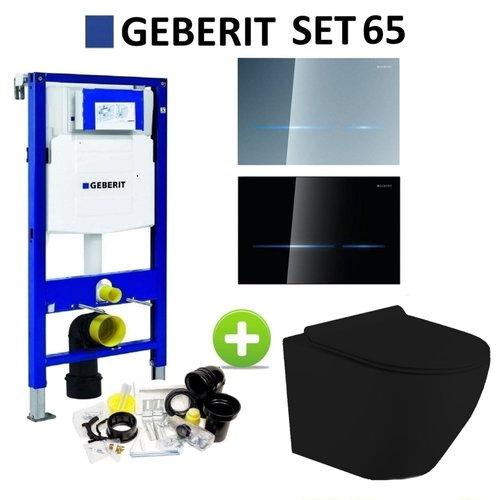 Geberit UP320 Mat Zwart Toiletset set65 Mudo Randloos met Sigma 80 Drukplaat