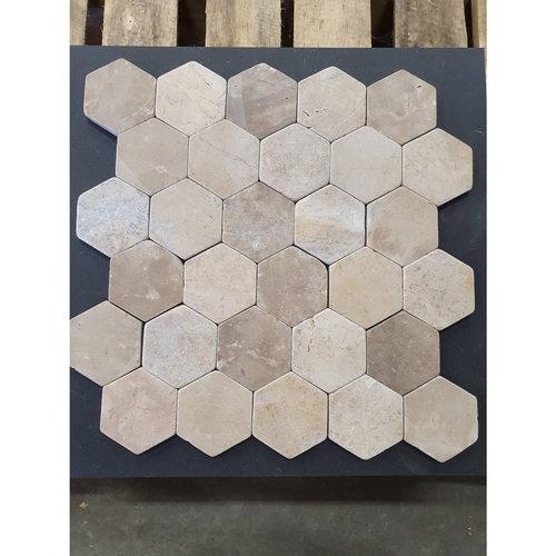 Mozaiek Hexagon Moccacino Y 30x30 cm Marmer Licht Bruin (doosinhoud 1 m2)