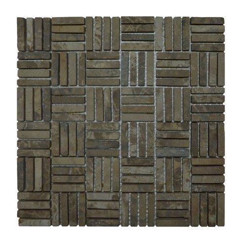 Mozaiek Parquet 1x4.8 30x30 cm Marmer Moccacino Blokverband (doosinhoud 1 m2)