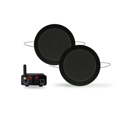 Bluetooth Music Center Aquasound + Twist Speakerset 50 Watt / BT4.0 / AUTO-AUX Mat Zwart