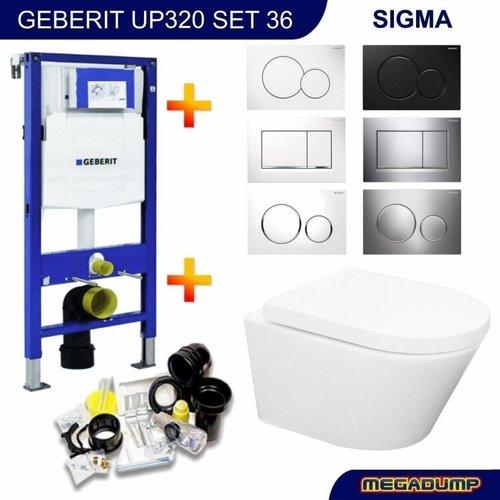 UP320 Toiletset 36 Aqua Splash Vesta Rimless Met Sigma Drukplaat