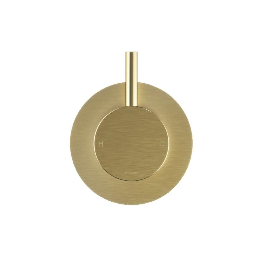 Fonteinkraan Hotbath Dude 1-knop gebogen 19.3 cm Rond Geborsteld Messing PVD