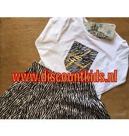 2 delige set zebra print   Suede look rokje