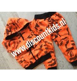 Leger Joggingsetje  (Zwart/oranje   )