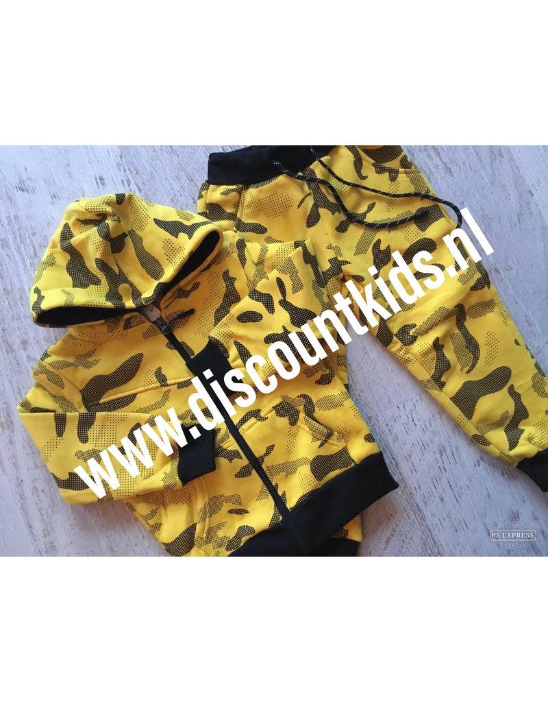Leger Joggingsetje  (Zwart/geel)