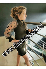 Meisjes jurk zwart met doorzichtige pofmouwen
