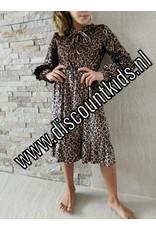 Meisjes jurk met roezels met panter motief