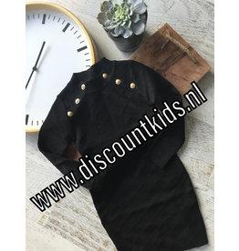 Meisjes jurk zwart met glinsterstof en gouden knopen
