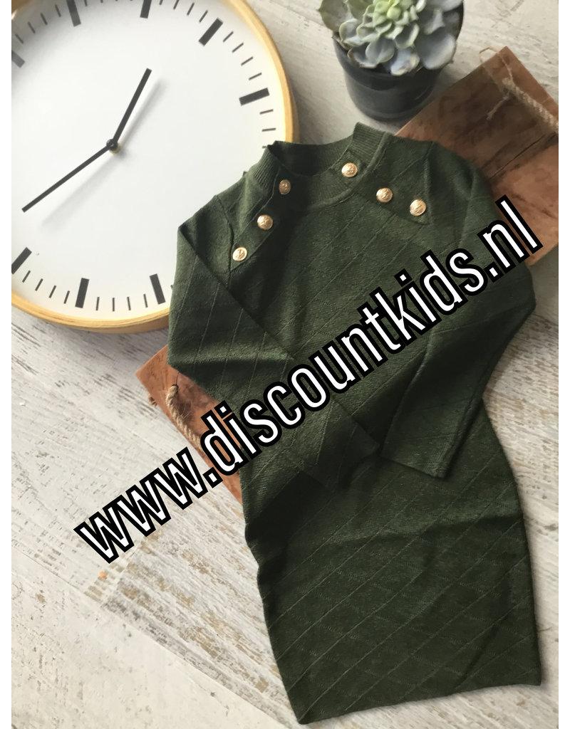 Meisjes jurk groen met glitterstof en gouden knopen