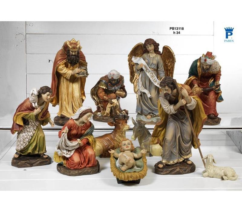 Grote Klassieke Kwaliteits Kerststal, 11 - delig  34 cm