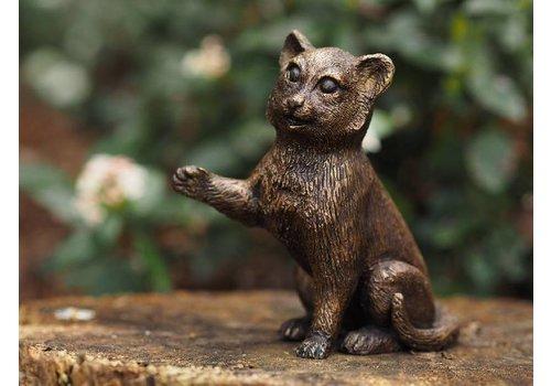 BronzArt Bronzestatue: Katze, die gerne spielt.