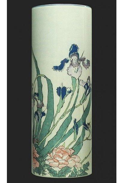 Vaas Hokusai, Irises-Peonies-Sparrows