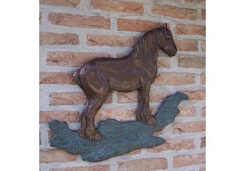 BronzArtes Bronzen Beeld: Brabants trekpaard muurdeco