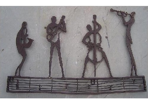 BronzArtes Bronzen Beeld: Muurdecoratie jazz club