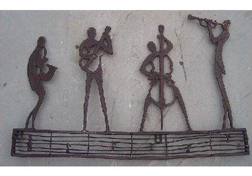 BronzArtes Bronzestatue: Wandschmuck Jazzclub
