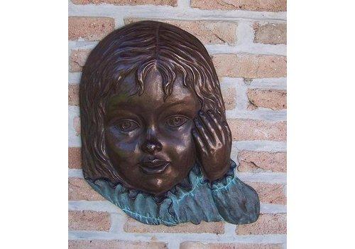 BronzArtes Bronzen Beeld: Meisjesgezicht  muurdecoratie