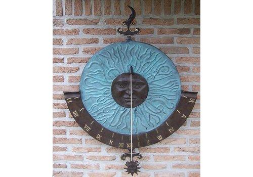 BronzArtes Bronzestatue: Große Sonnenuhr-Wandhalterung