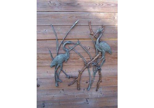 BronzArtes Bronzestatue: Reiher / Wanddekoration