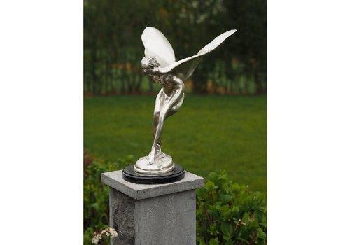 BronzArtes Bronzestatue: Fliegende Frau versilbert