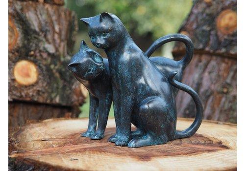 BronzArtes Bronzestatue: 2 süße Katzen