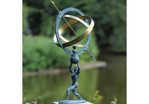 BronzArtes Bronzestatue: Mann mit Sonnenuhr