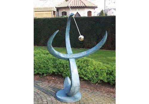 """BronzArtes Bronzestatue: Große Sonnenuhr """"Welle"""""""