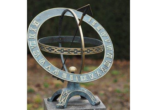 BronzArtes Bronzen Beeld: Zonnewijzer 42 cm. Draaiende ring