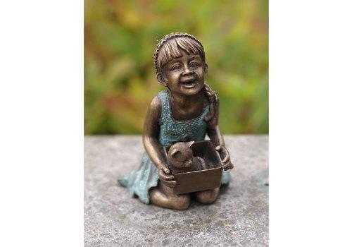 BronzArtes Bronzestatue: Mädchen mit Katze