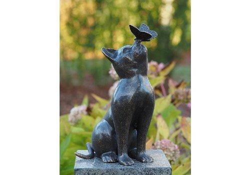 BronzArtes Bronzestatue: Katze mit Schmetterling