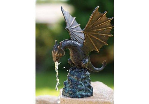 BronzArtes Bronzestatue: Drache auf Felsen / Brunnen
