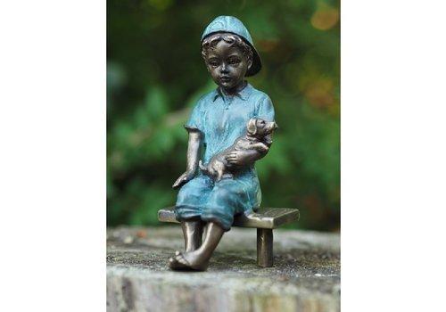 BronzArtes Bronzestatue: Junge mit Hund