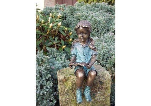 BronzArtes Bronzen Beeld: Lezend meisje