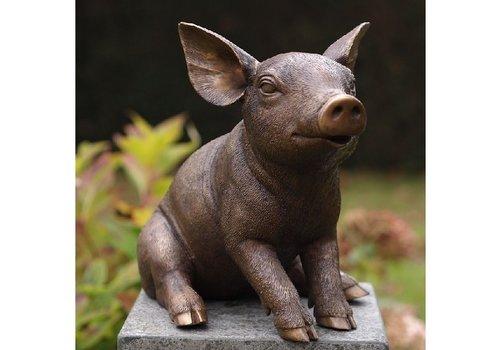 BronzArtes Bronzestatue: sitzendes Schwein