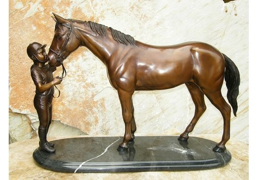 BronzArtes Girl and horse on marble base