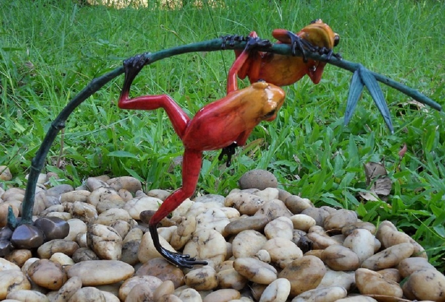Bronze Statue:   2 Red frogon twig-1