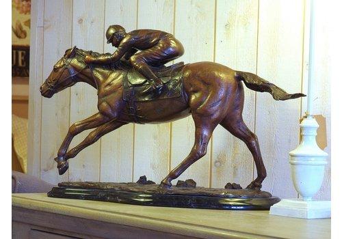 BronzArtes Bronzestatue: Jockey zu Pferd