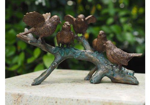BronzArtes Bronzen Beeld: 5 Vogels op tak