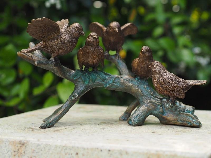 Bronzen Beelden:   5 Vogels op tak-1