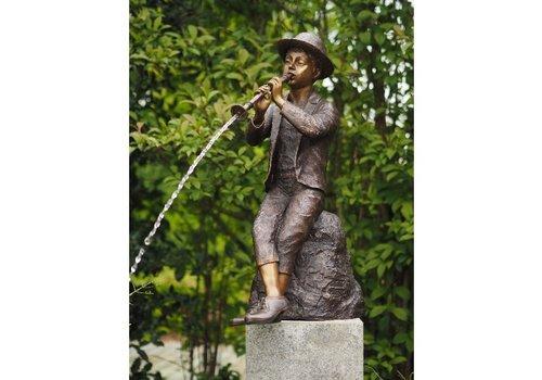 BronzArtes Bronzestatue: Junge mit Flöte