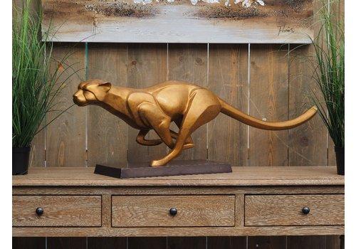BronzArtes Bronzen Beeld: rennende  jaguar