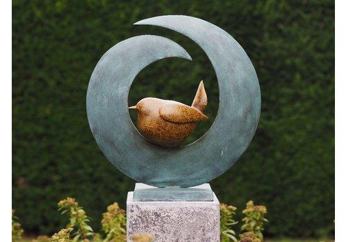 BronzArtes Bronze statue: Bird in circle pedestal is not included