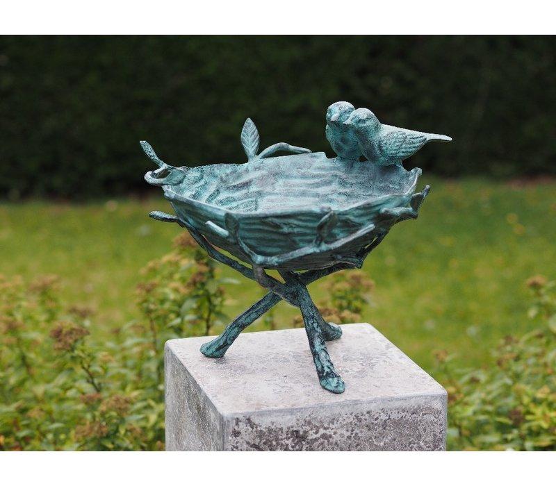 Bronzen Beeld: Prachtige vogelbad zonder steen geleverd