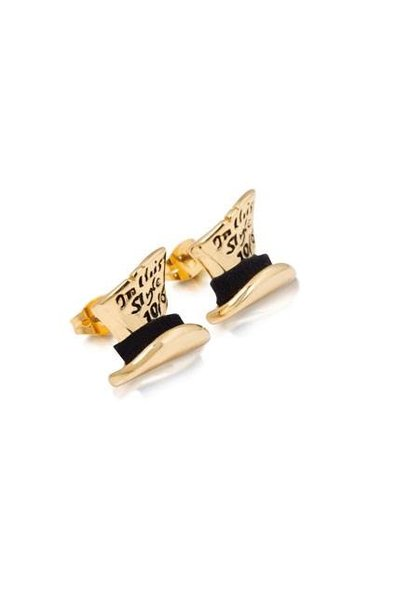 Mad Hatter Hat - Earrings Gold