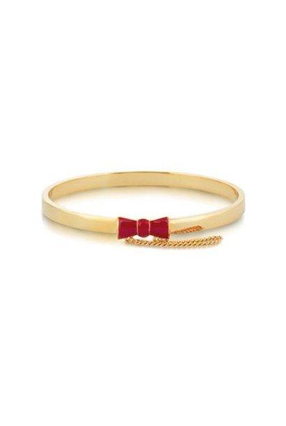 Rote Schleife - Armreif Gold