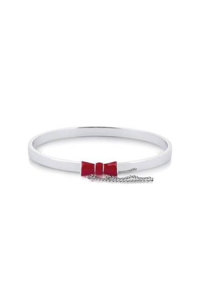 Red Bow Bangle - White Gold