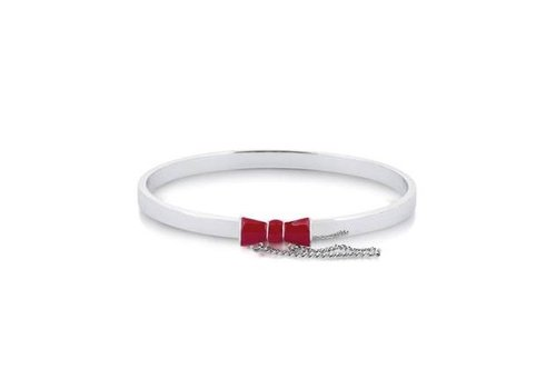 Minnie Maus Red Bow Bangle - White Gold